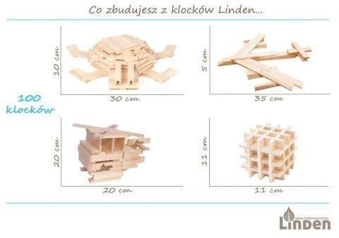Klocki Linden 100 sztuk w eko worku 220 480 - Zestaw 100 szt. klocków drewnianych w worku