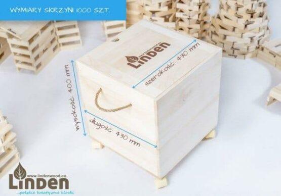 Zestaw 1000 szt. Klocków w Drewnianej Skrzyni i wymiary skrzyni - Linden