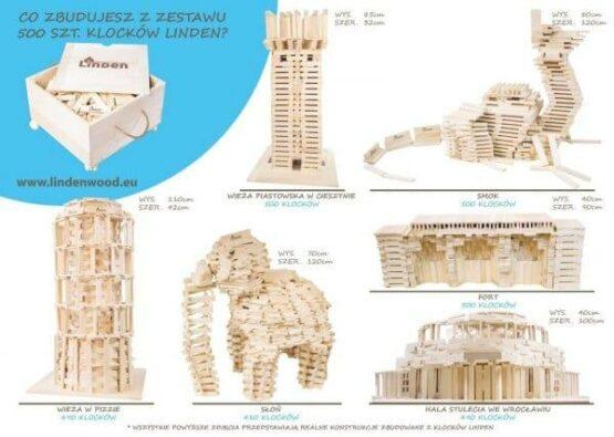 Zestaw 500 szt. Klocków w Drewnianej Skrzyni i inspiracje do zbudowania - Linden