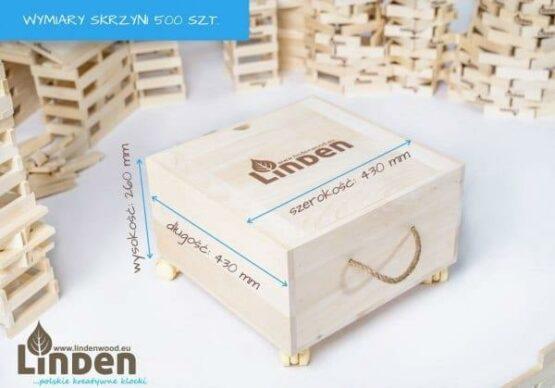 Zestaw 500 szt. Klocków w Drewnianej Skrzyni i wymiary skrzyni - Linden