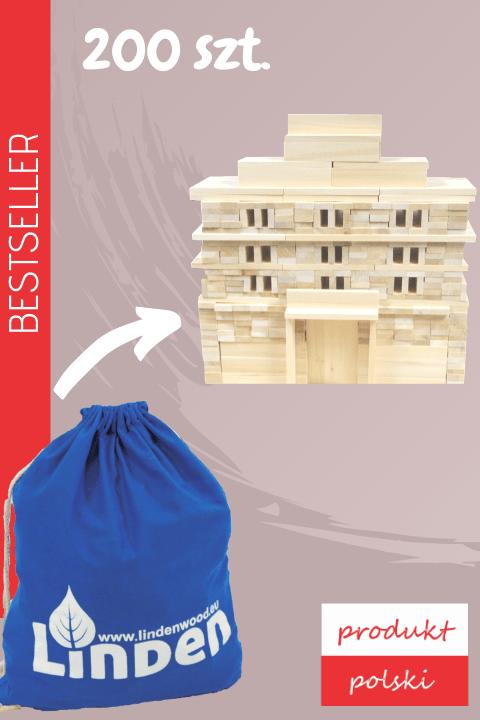 drewniane klocki linden zestaw 200 sztuk 1 - Zestaw 200 szt. klocków Linden w ekologicznym worku