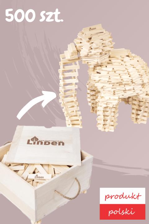 drewniane klocki linden zestaw 500 sztuk w skrzyni - Zestaw 500 szt. klocków Linden w drewnianej skrzyni