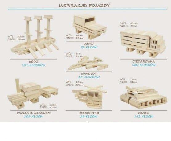 Klocki drewniane luzem inspiracje pojazdy
