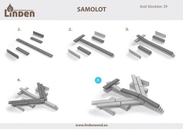 Laminowane inspiracje do budowania - łamigłówka samolot - - Linden